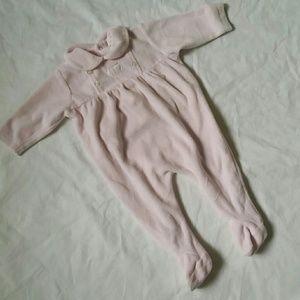 Creme Bebe pink velour footie babygro sz 3m